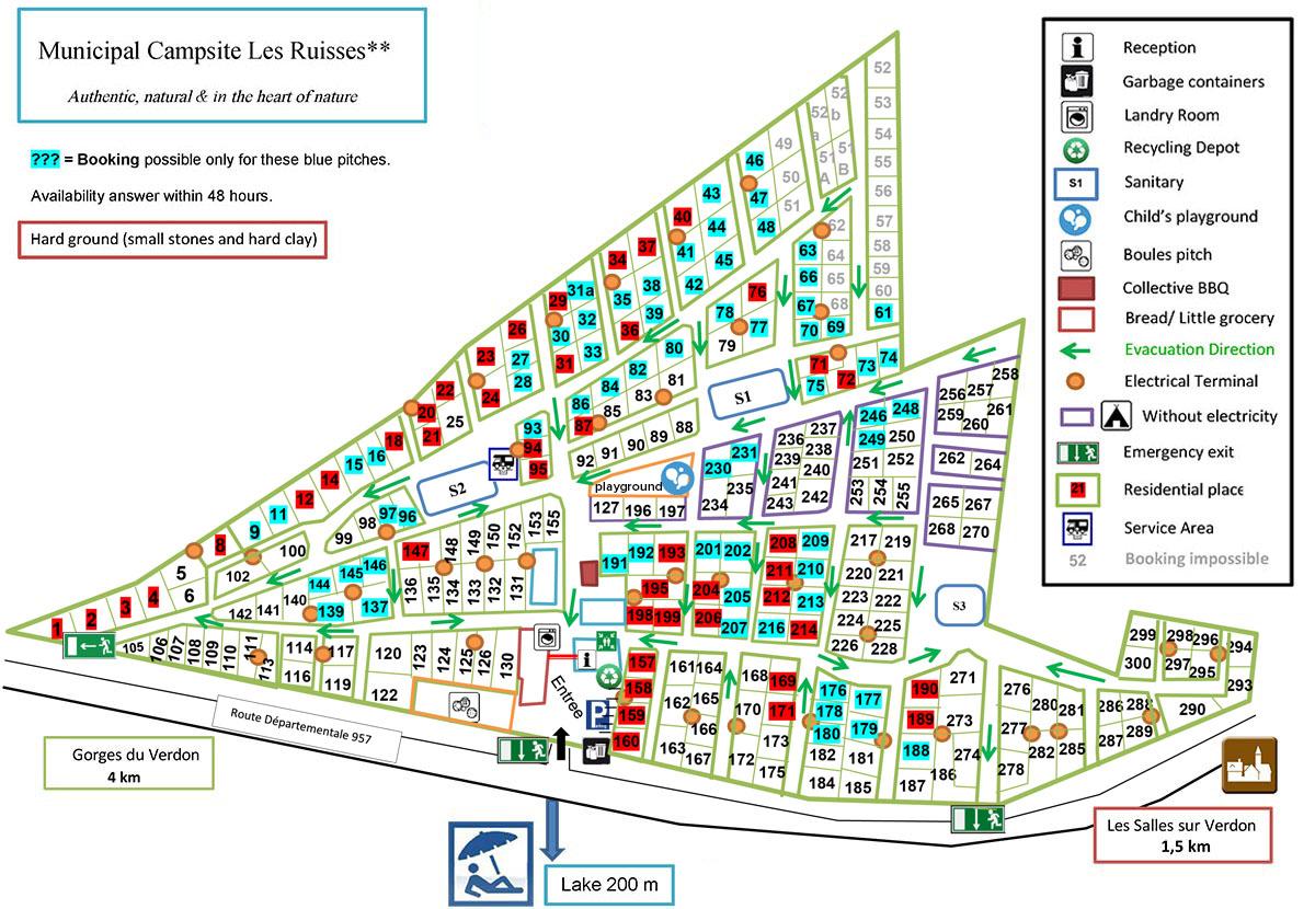 Map camping municipal les ruisses les salles sur verdon for Camping sainte croix du verdon avec piscine
