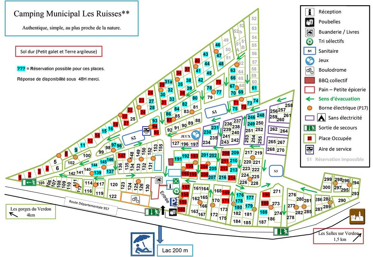 Plan résidentiel du Camping Les Ruisses - Les Salles sur Verdon - Lac st. Croix - Gorges du Verdon